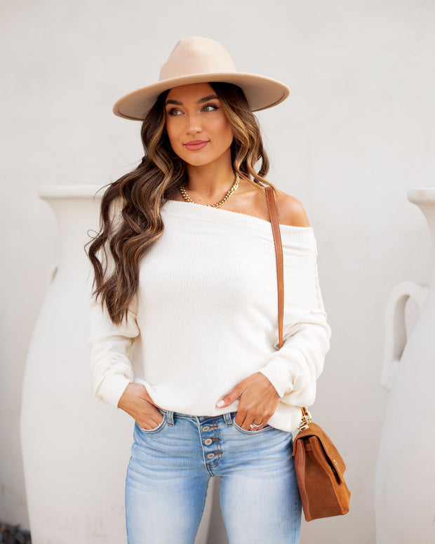 Zuza Off The Shoulder Ribbed Knit Top - Off White