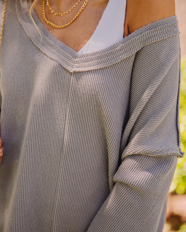 Oasis Relaxed Knit Top - Grey view 4