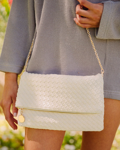 Sara Woven Crossbody Clutch - Off White