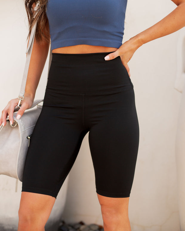 Soft Focus Biker Shorts - Black