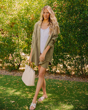 Kennedy Cotton Pocketed Button Down Tunic - Olive view 6