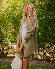 Kennedy Cotton Pocketed Button Down Tunic - Olive view 7