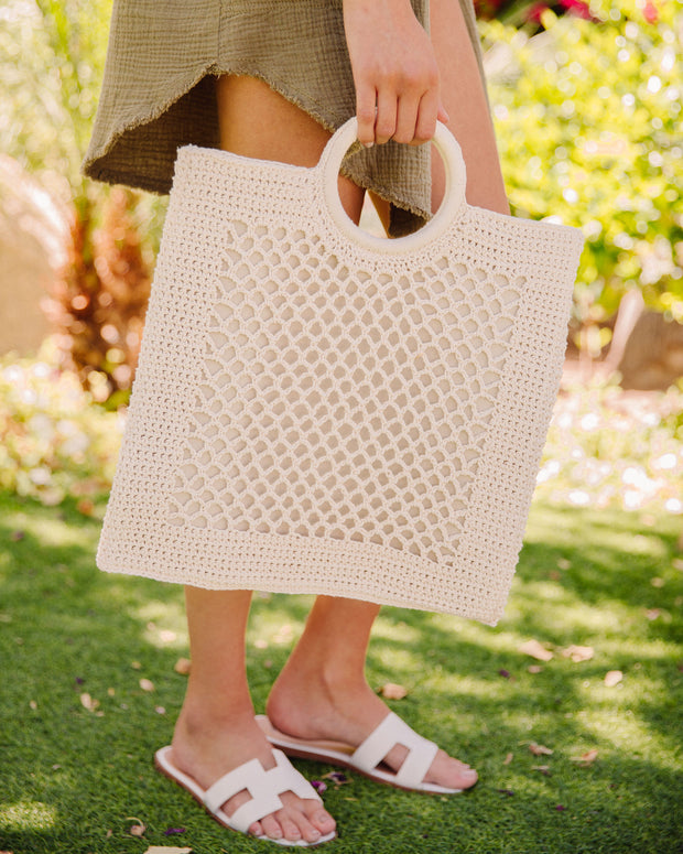 Bermuda Crochet Tote Bag - Ivory view 2