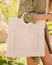 Bermuda Crochet Tote Bag - Ivory view 1