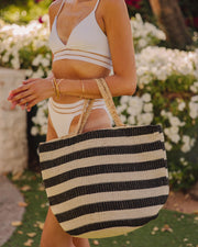 Desert Lines Cotton + Jute Woven Tote Bag view 1