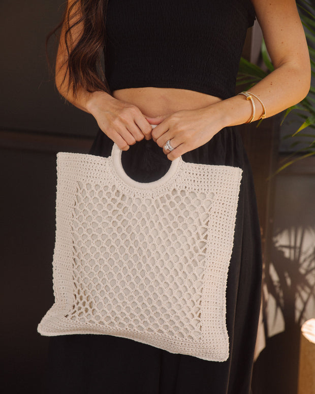 Bermuda Crochet Tote Bag - Ivory view 3