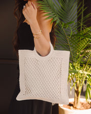 Bermuda Crochet Tote Bag - Ivory view 5