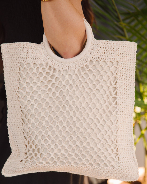 Bermuda Crochet Tote Bag - Ivory view 4