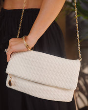 Sara Woven Crossbody Clutch - Off White view 4