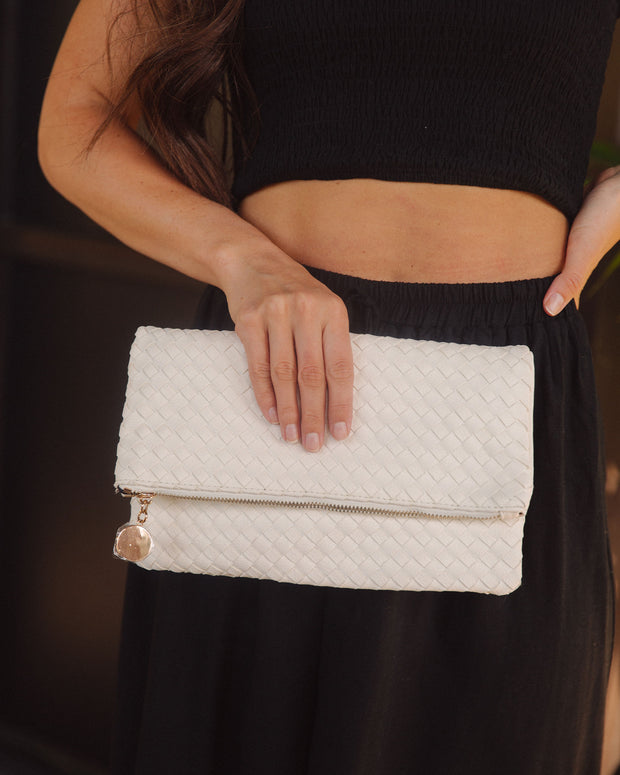 Sara Woven Crossbody Clutch - Off White view 5