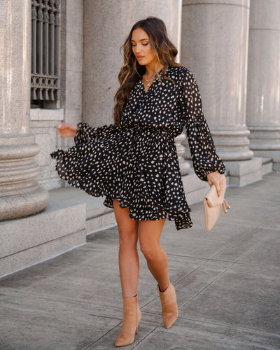 I Wonder Textured Button Down Dress