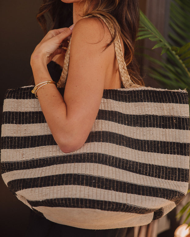 Desert Lines Cotton + Jute Woven Tote Bag view 4