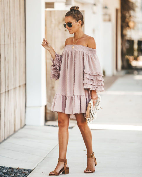 Ready To Ruffle Off The Shoulder Swiss Dot Dress