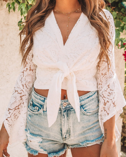 Hollywood Heights Lace Tie Top - White - FINAL SALE