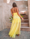 Enchanting Evening Chiffon Lace Maxi Dress - Yellow