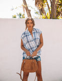 Evan Plaid Drape Top