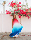 Fiji Pleated Ombre Halter Maxi Dress - Pink/Blue - FINAL SALE