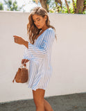 City Of Love Striped Shift Dress - Blue - FINAL SALE