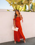 Infinity Off The Shoulder Maxi Dress - Rust