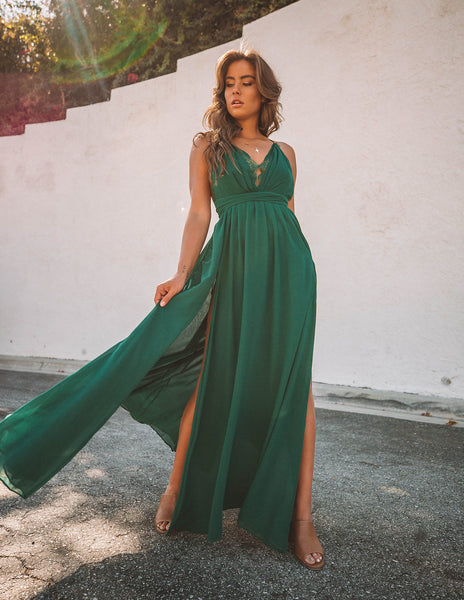 Talk Of The Town Maxi Dress - Hunter Green