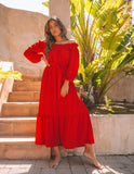 Avant Garde Off The Shoulder Ruffle Maxi Dress - Red - FINAL SALE