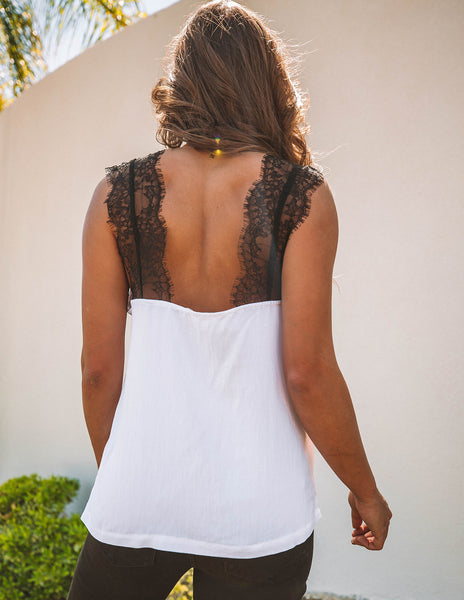 One More Night Lace Cami Tank - White
