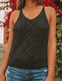 Hot Off The Press Cable Knit Tank - Black