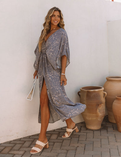 Woodloch Adjustable Printed Kimono Maxi Dress