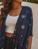 Written In The Stars Kimono Tie Top - Navy
