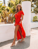 Lost In The Moment Maxi Dress - Tomato Red - FINAL SALE