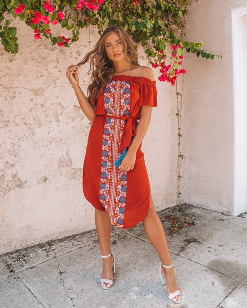 Youthful Spirit Embroidered Midi Dress - Rust