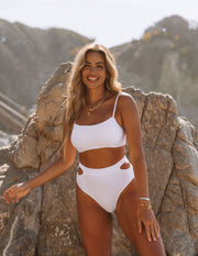 Float Ribbed Cut Out Bikini Bottom - White view 3