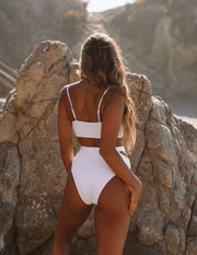 Float Ribbed Cut Out Bikini Bottom - White view 2