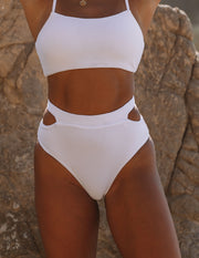 Float Ribbed Cut Out Bikini Bottom - White view 4