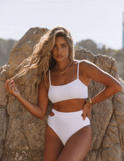 Float Ribbed Cut Out Bikini Bottom - White view 6