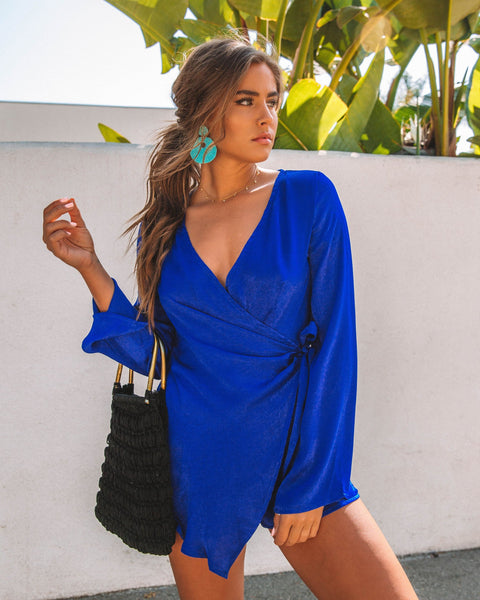 Polished Wrap Romper - Royal Blue