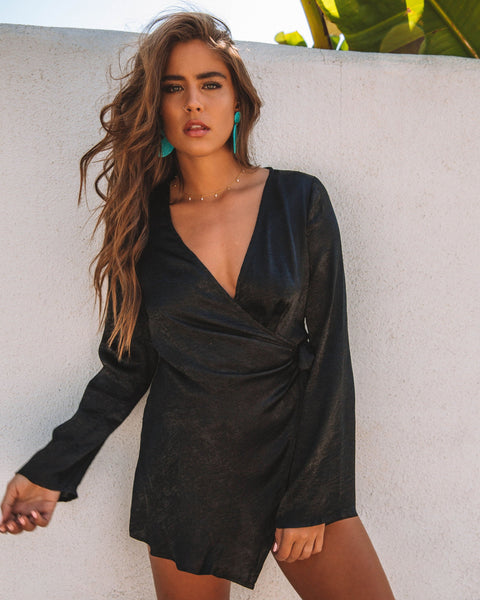 Polished Wrap Romper - Black