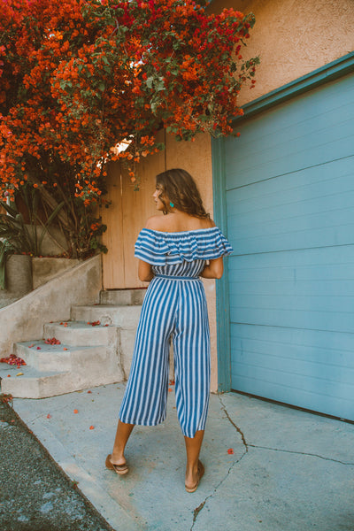 Sunny Stroll Off The Shoulder Jumpsuit - Navy - FINAL SALE
