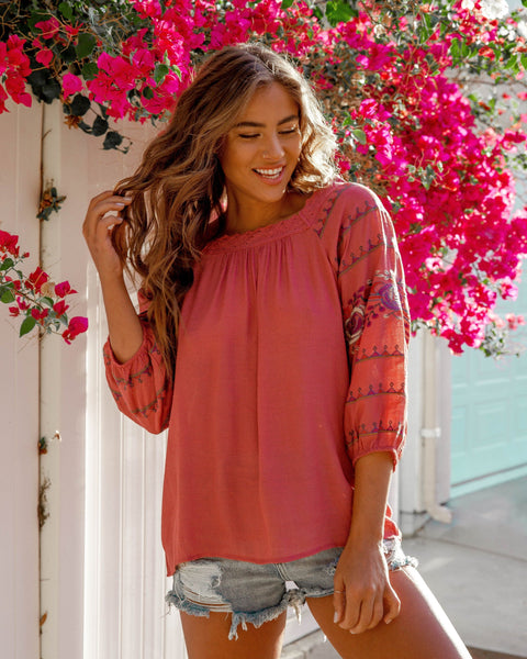 Nouvella Embroidered Top - Mauve