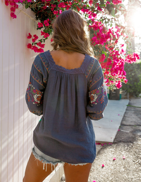 Nouvella Embroidered Top - Navy - FINAL SALE
