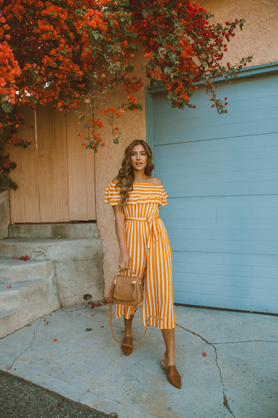 Sunny Stroll Off The Shoulder Jumpsuit - Mustard - FINAL SALE