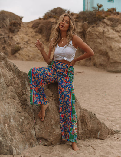 Marcelina Printed High Rise Palazzo Pants