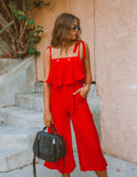 Little Red Corvette Pocketed Jumpsuit