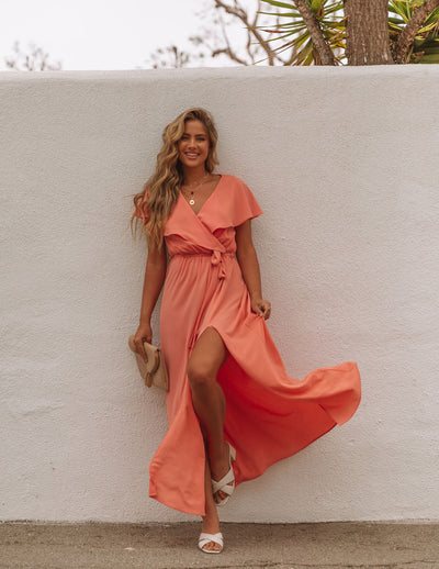 Lost In The Moment Maxi Dress - Peach