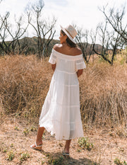 Confident Pocketed Off The Shoulder Tiered Maxi Dress - Marshmallow - FINAL SALE