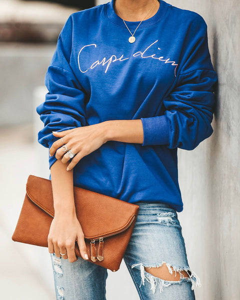 Carpe Diem Cotton Blend Pullover