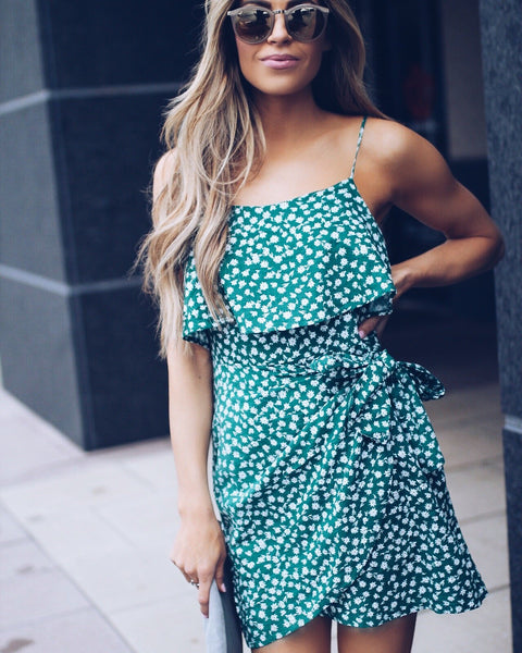 Succulent Garden Cotton Wrap Dress