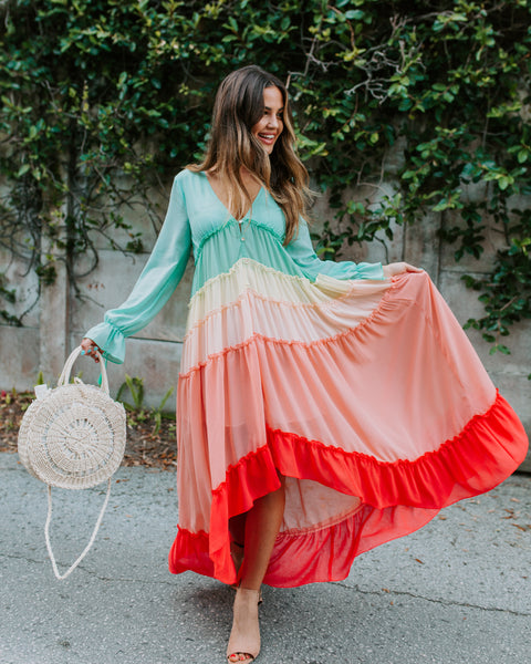 Wavelength Rainbow Tiered High Low Maxi Dress