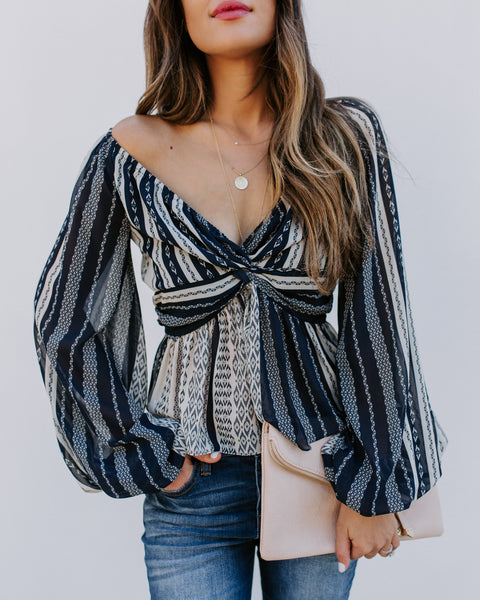 Ansel Printed Balloon Sleeve Twist Blouse