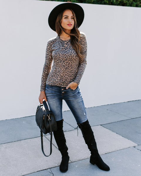 Hear Me Roar Knit Leopard Top